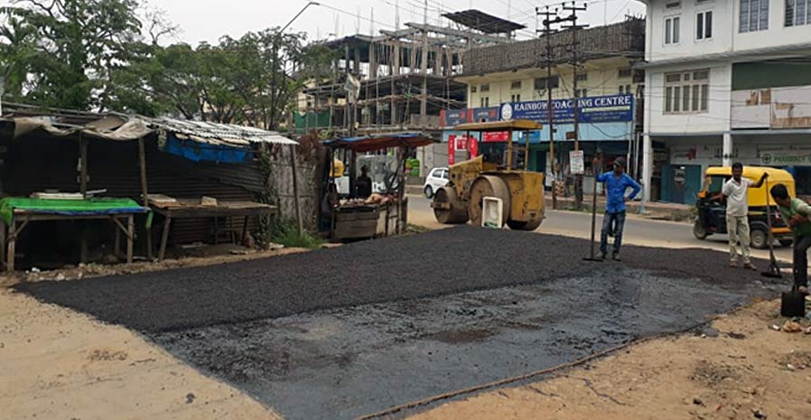 Road improvement work in Duncan road, Dimapur